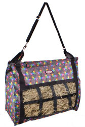 Showman ® Unicorn printed nylon slow feed hay tote.