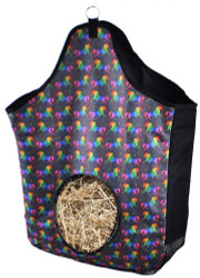 Showman® Unicorn printed heavy denier nylon hay bag with mesh bottom.