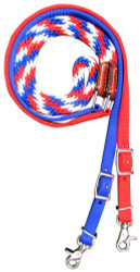 Showman ® Premium braided Red, White, and Blue nylon contest reins.