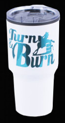 White Stainless Steel 30oz Tumbler with Teal Turn N Burn Barrel Racer Foil Decal.