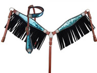 Showman ® Turquoise and Silver Sequins Inlay Single Ear Headstall and Breast Collar Set with black suede leather fringe.