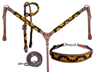 Showman ® Beaded Sunflower 4 Piece Headstall and Breastcollar Set.