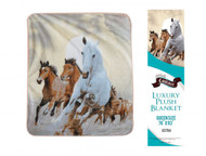 "Showman Couture ™ Luxury plush blanket with desert horse print. Queen Size 76"" x 93""."
