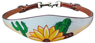 Showman ® Hand painted wither strap with a sunflower and cactus design.