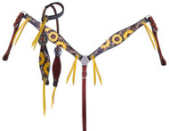 Showman ® Sunflower Print Overlay One Ear Headstall and Breast collar Set.