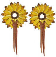 Showman ® hand painted sunflower leather bit guards.