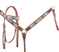 Showman ® Cactus and Navajo Print Beaded headstall and breast collar set.
