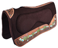 "Showman ® 32"" x 31"" x 1"" Brown Built Up Felt Saddle Pad with Hand Painted flower, steer skull, and cactus design."