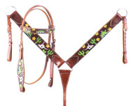 Showman ® Hand Painted Steer Skull, Cactus, and Small Yellow Flowers Headstall and Breast collar Set.