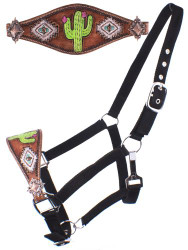 Showman ® Adjustable nylon bronc halter with hand painted navajo cactus print noseband.