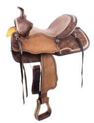 "15"" Double T  Basket weave and Floral Tooled Barrel Style Saddle."