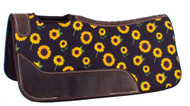 "Showman Pony 24"" x 24"" Brown Felt Saddle Pad w/ Sunflower Design"