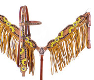 Showman Hand Painted Sunflower Brow Band Headstall & Breast Collar Set w/ Sunflower Conchos