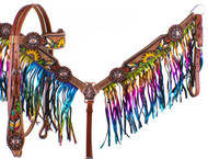 Showman Hand Painted Feather, Sunflower & Cactus Brow Band Headstall & Breast Collar Set w/ Metallic  Rainbow Fringe