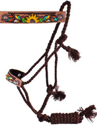 Showman Woven Brown Nylon Mule Tape Halter w/ Hand Painted Feather, Sunflower & Cactus Noseband