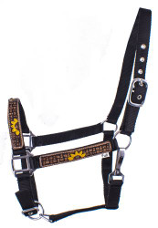 Showman Black Nylon Halter w/ Leather Overlay w/ Hand Painted Sunflowers