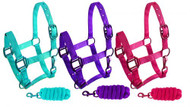 Showman ® Pony triple ply nylon halter and lead rope with matching powder coated hardware.