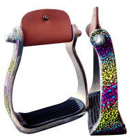 Showman ® Rainbow Cheetah print stirrups.