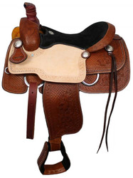 "16"", 17"" Double T Roper Style Saddle with Suede Leather Seat and Waffle and Floral Tooling"
