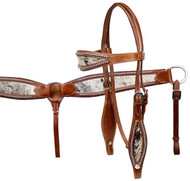 Showman Double Stitched Leather Wide Browband Headstall And Breast Collar Set With Hair On Cowhide Print