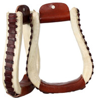 Showman Rawhide Covered Stirrups With Leather Lacing