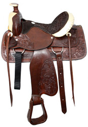 "16"" Semi Acorn Tooled Buffalo Roper Style Saddle With Rawhide Silver Laced Cantle"