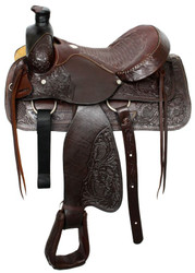 "16"" Acorn Tooled Buffalo Roper Style Saddle With Smooth Leather Seat"