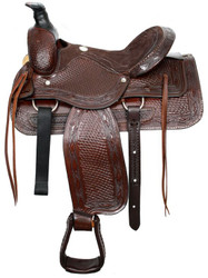 "16"" Fully Tooled Buffalo Roper Style Saddle Suede Leather Seat"