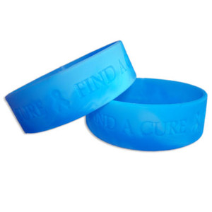 Blue Wide Find A Cure Wristband - 5 Pack FREE Shipping!