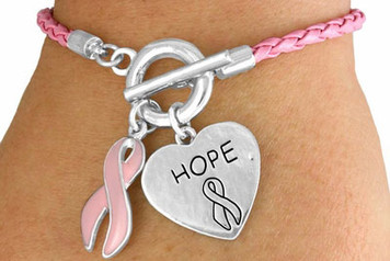 Braided Pink Awareness Toggle Bracelet FREE Shipping!