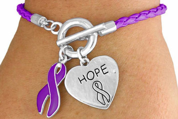 Braided Purple Awareness Toggle Bracelet