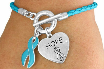 Braided Teal Awareness Toggle Bracelet FREE Shipping!