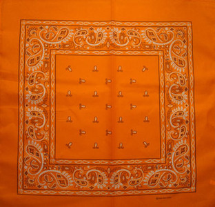 Orange Paisley Bandana Pack of 6 - FREE Shipping!