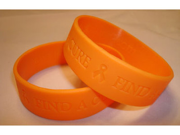 Orange Wide Find A Cure Wristband - 5 Pack FREE Shipping!