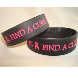 Pink & Black Wide  Find A Cure Wristband - 5 Pack FREE Shipping!