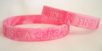 Pink Ribbon Find A Cure Wristbands - 5 Pack  FREE Shipping!