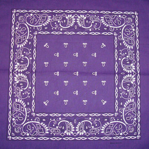 Purple Paisley Bandana Pack of 6 - FREE Shipping!
