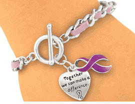Purple Ribbon Bracelet FREE Shipping!