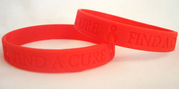 Red Ribbon Find A Cure Wristbands - 5 Pack