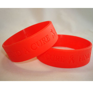 Red Wide  Find A Cure Wristband - 5 pack FREE Shipping!