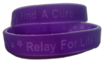 Relay For Life Adult Size  Wristbands - 10 pack FREE Shipping!