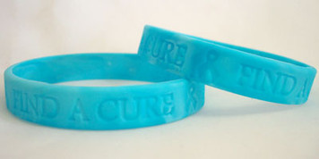 Teal Ribbon Find A Cure Wristbands - 5 Pack FREE Shipping!