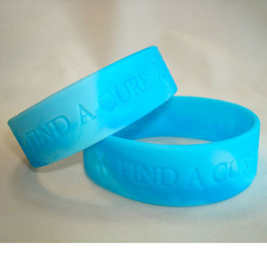 Teal Wide  Find A Cure Wristband - 5 Pack FREE Shipping!