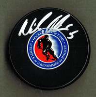 Nicklas Lidstrom Autographed Hockey Hall of Fame Logo Hockey Puck