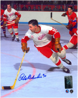 Alex Delvecchio Autographed Detroit Red Wings 8x10 Photo #6 - Color Action