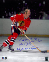 "Bobby Hull Autographed Chicago Blackhawks 16x20 Photo #2 w/ ""HOF"" and ""Golden Jet"""