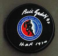 "Bill Gadsby Autographed Hall of Fame Logo Puck w/ ""HOF"""