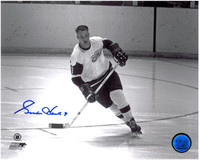 Gordie Howe Autographed Detroit Red Wings 8x10 Photo #4 - Black & White skating on the open ice
