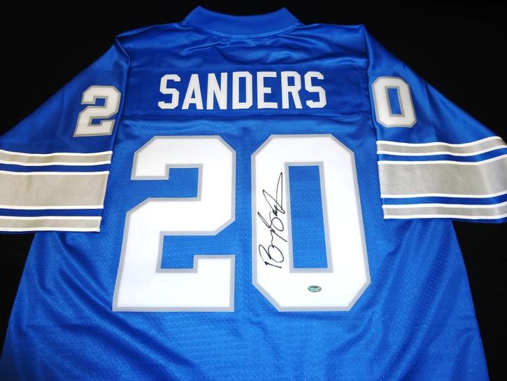 official photos 9fbb3 041e6 Barry Sanders Autographed Detroit Lions Jersey - Blue Pro Line
