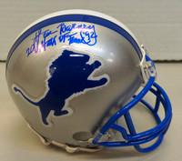 """Lem Barney Autographed Detroit Lions Mini Helmet w/ """"Hall of Fame 92"""""""